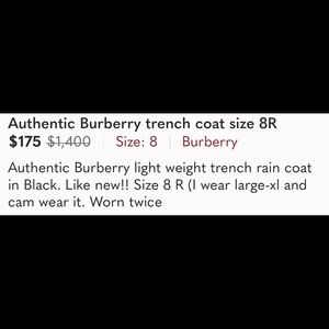 Authentic Burberry trench coat size 8R